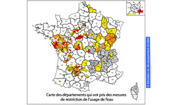 carte des départements qui ont pris des mesures de restriction de l'usage de l'eau
